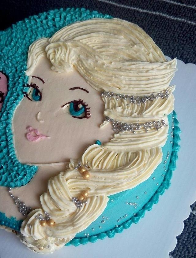 Handdrawn Elsa Braid Cake