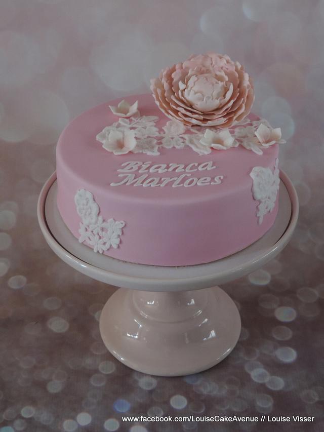 Elegant peony lace cake