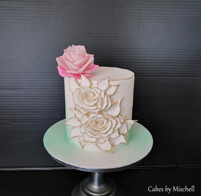 Cake with sugar rose