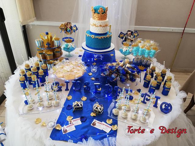 Torta e sweet table tema principino👑