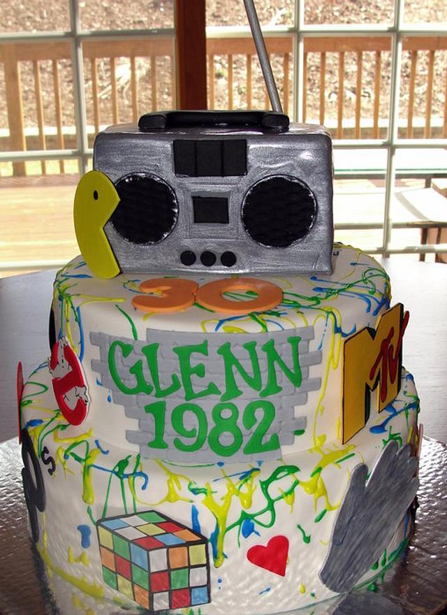 80's themed 30th birthday cake