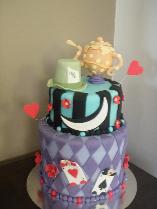 Alice in Wonderland themed 21st Cake