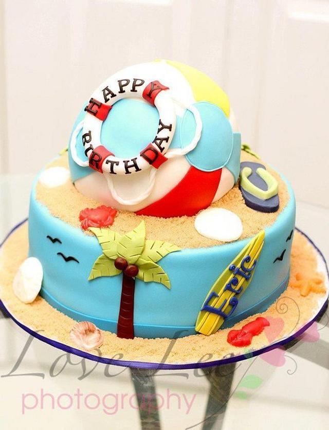 Fantastic Beach Ball Cake Cake By Kimberly Cerimele Cakesdecor Birthday Cards Printable Benkemecafe Filternl