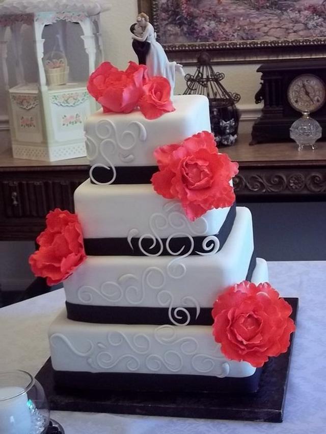 Fuschia Peony Wedding Cake