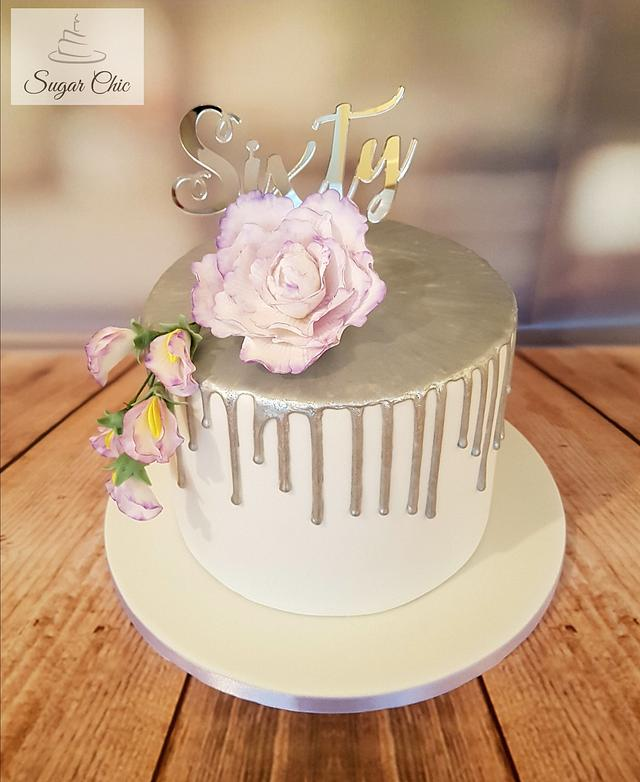 Lilac & Silver Floral Drip Cake