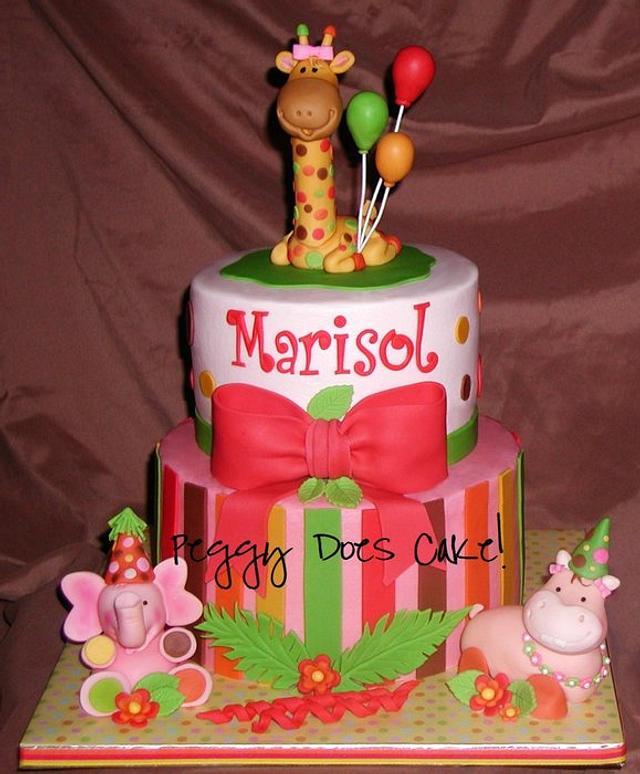 Sweet Safari In Pink Cake
