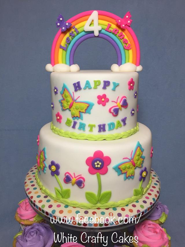 Stupendous Butterflies Rainbow And Flowers Cake Cake By Toni Cakesdecor Personalised Birthday Cards Beptaeletsinfo