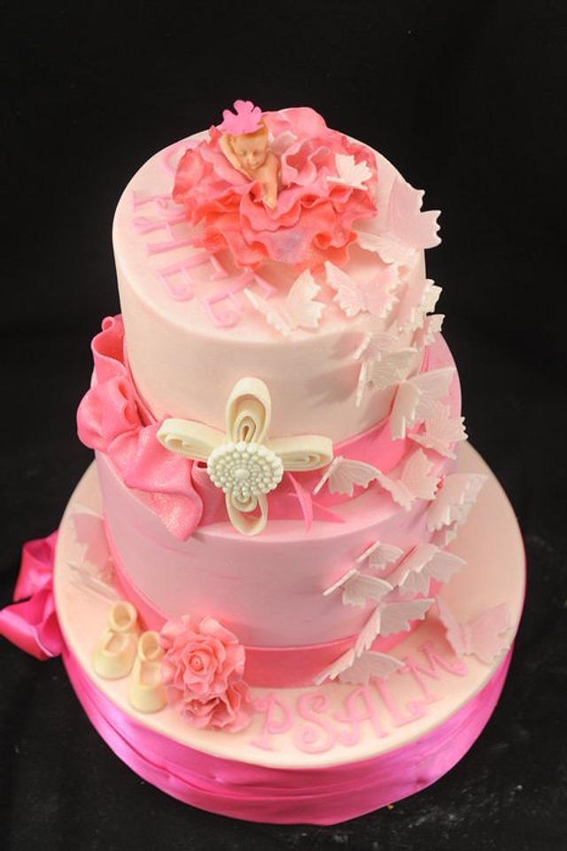 Pink Christening Cake With Cherub