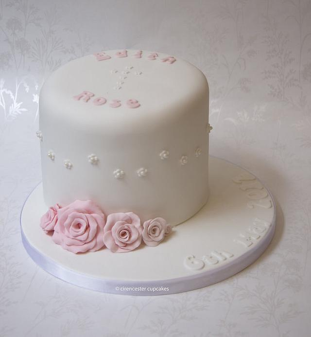 Christening Cake - Roses & Pearls