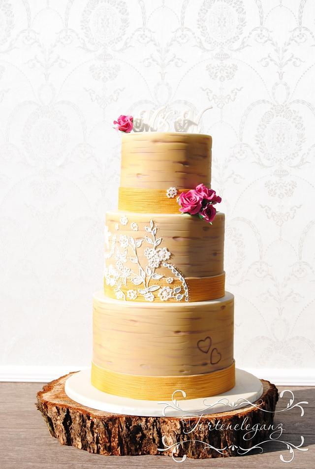 Rustic Wedding - Custom Lace on a Birch Cake with Burlap Ribbon