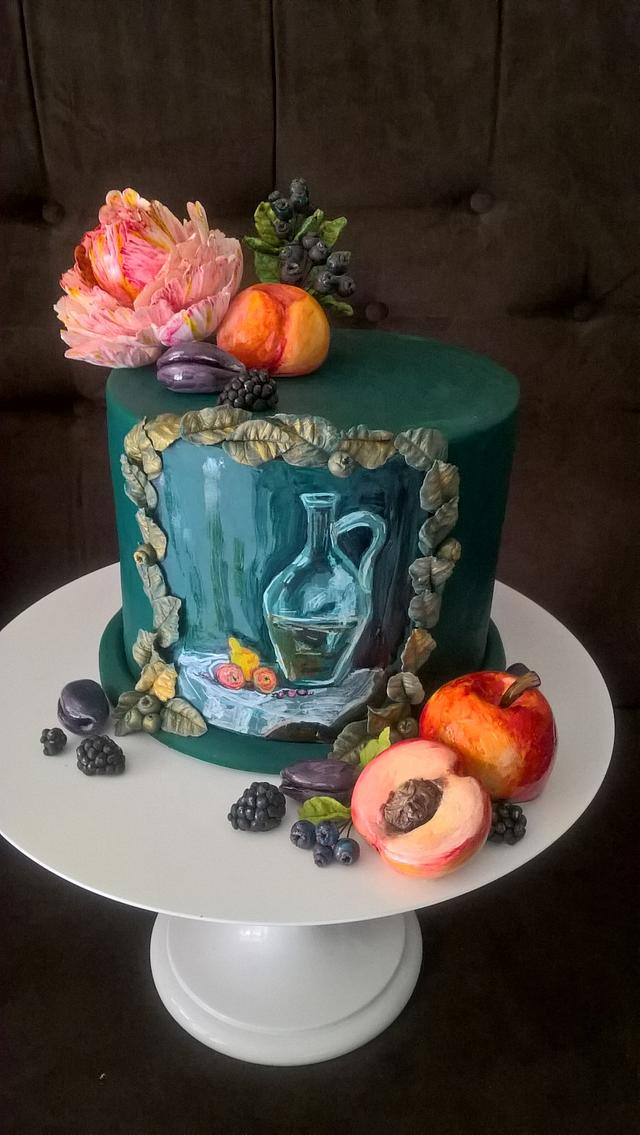 Cake with hand painting decoration