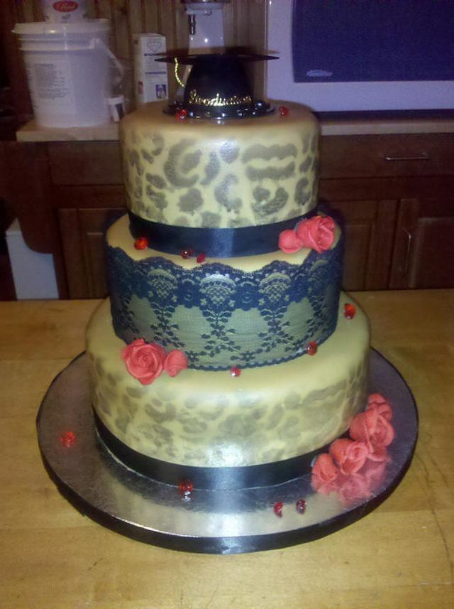 Leopard and Lace Graduation Cake