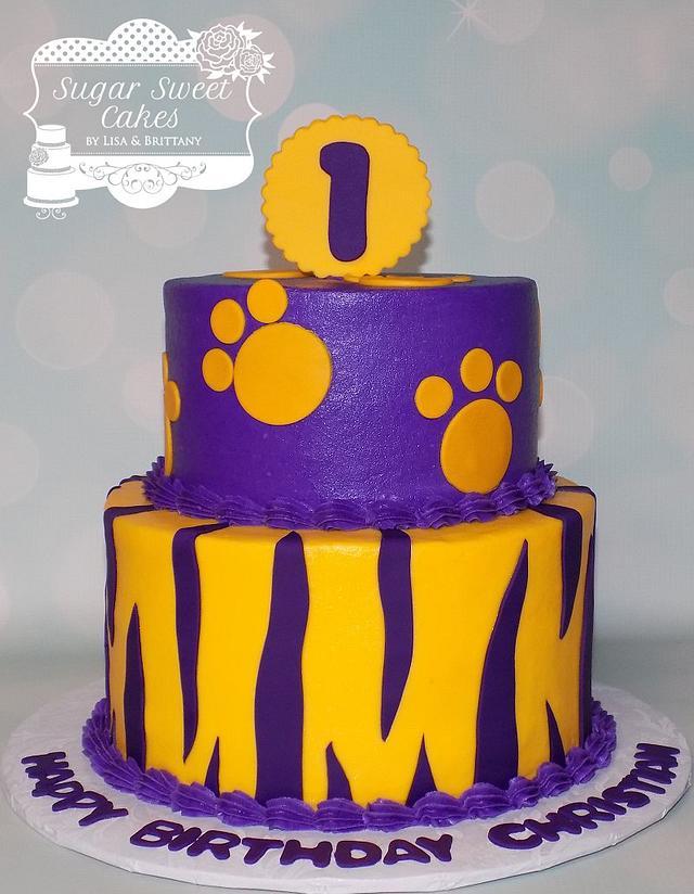 Fantastic Lsu 1St Bday Cake By Sugar Sweet Cakes Cakesdecor Personalised Birthday Cards Veneteletsinfo