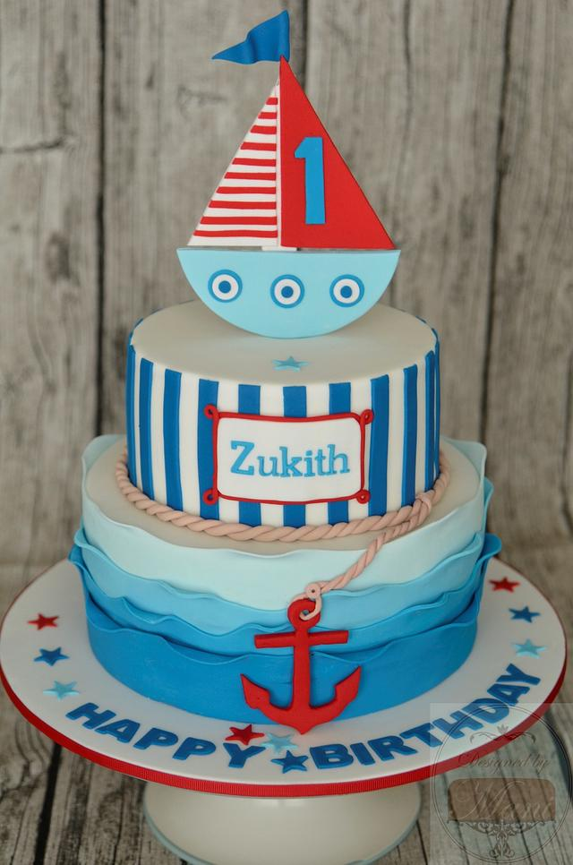 Admirable Nautical Themed 1St Birthday Cake Cake By Designed By Cakesdecor Personalised Birthday Cards Sponlily Jamesorg