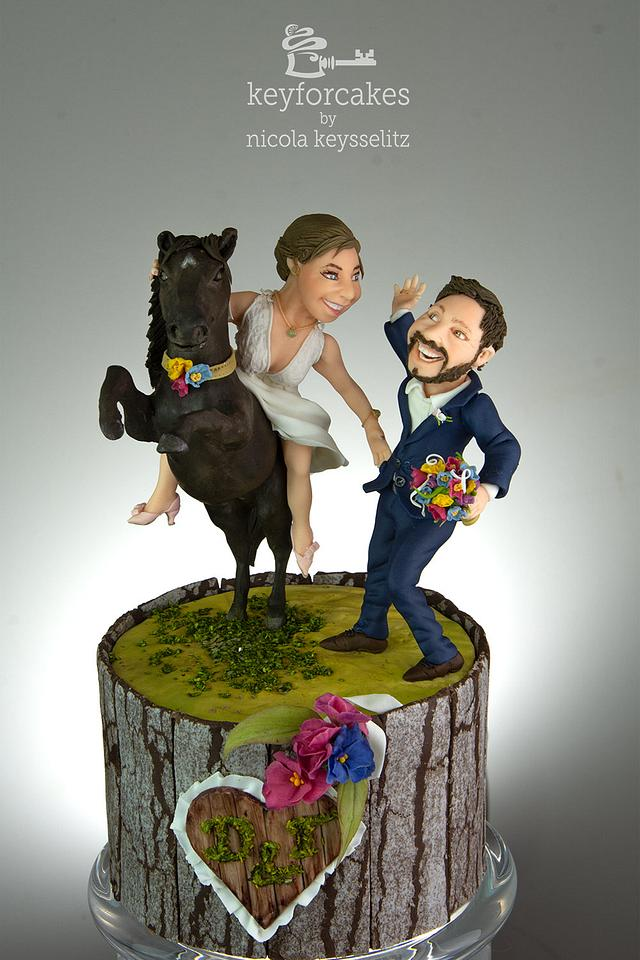 High on her horse - Wedding cake topper
