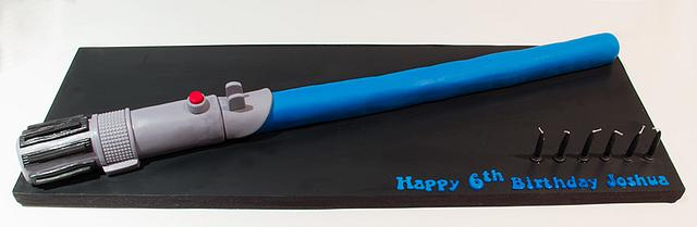 Surprising Blue Lightsaber Cake By Ebwc Cakesdecor Funny Birthday Cards Online Sheoxdamsfinfo