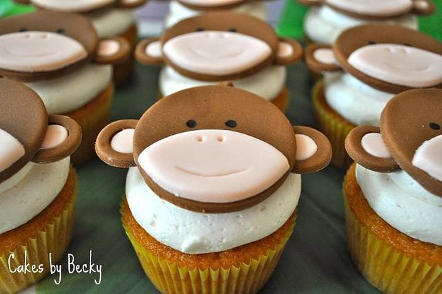 Monkey Baby Shower Cupcakes