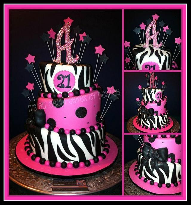 Pink and Black 21st Birthday Topsy Turvy