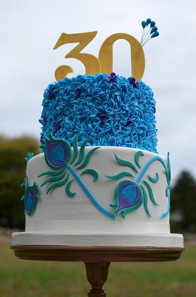 Swell Peacock Inspired Birthday Cake Cake By Elisabeth Cakesdecor Personalised Birthday Cards Veneteletsinfo