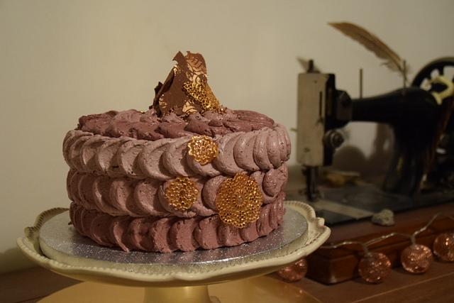 Chocolate cake with black cherry Italian meringue buttercream