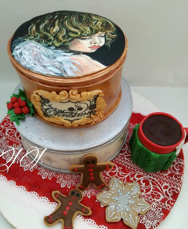 Christmas cake with hand-painted picture