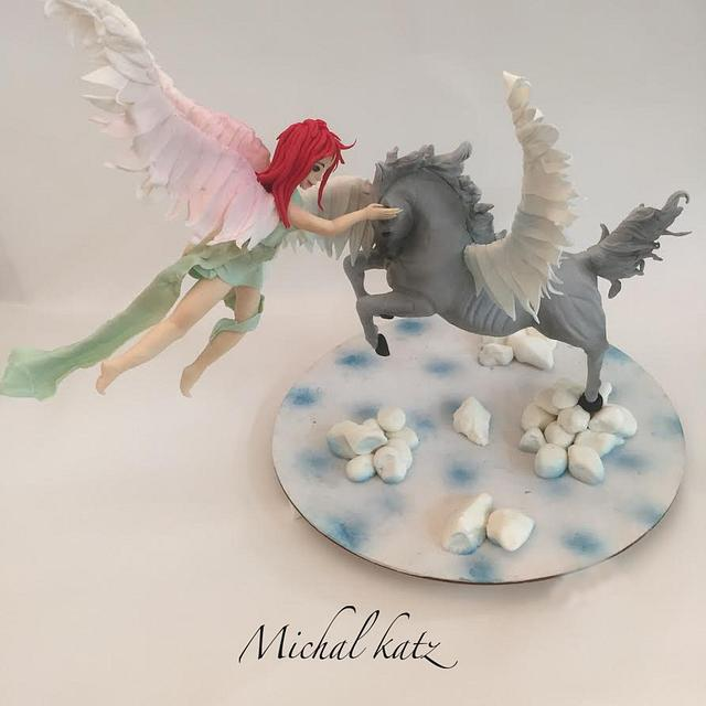 aflying fairy and horse
