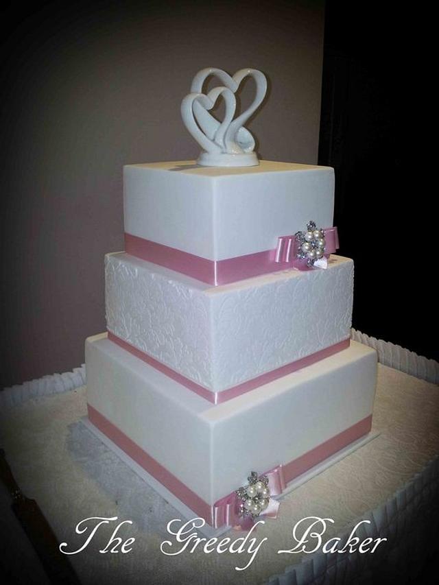 Square White Damask Wedding Cake