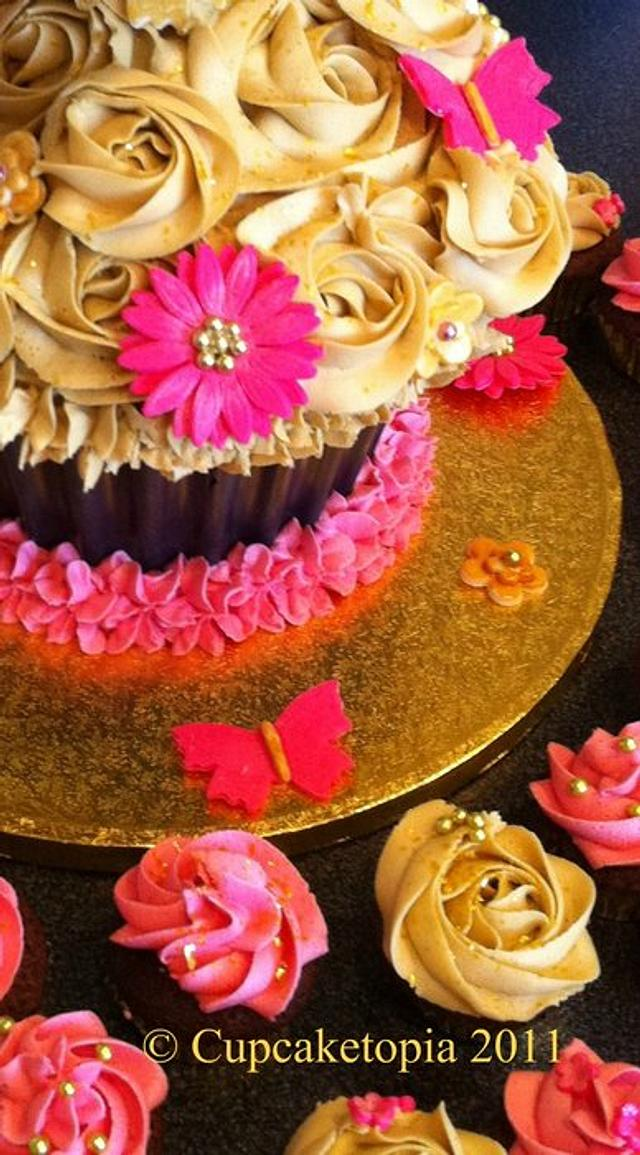 Black, Cerise and Gold Giant Cupcake