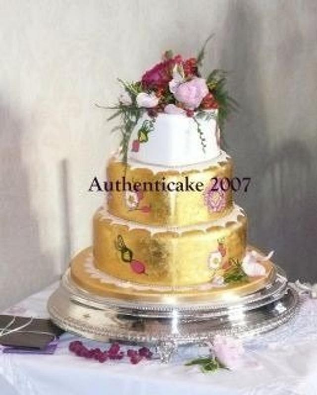 Hand painted gold leaf design roses and rosehips