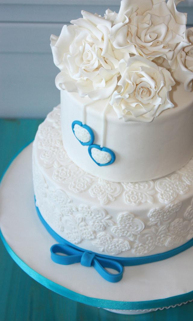 """""""Something blue"""" wedding cake"""