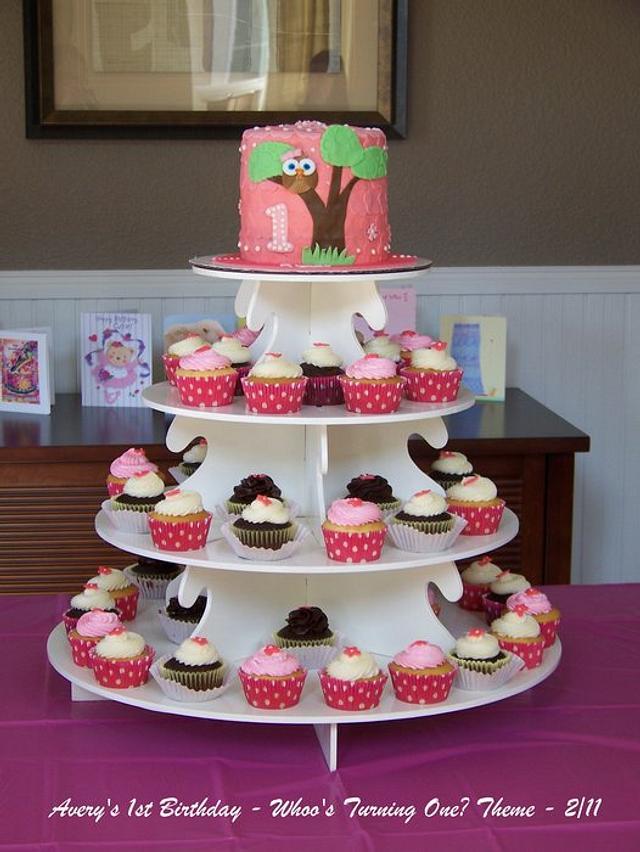 Avery's Owl Birthday- cake & cupcake tower