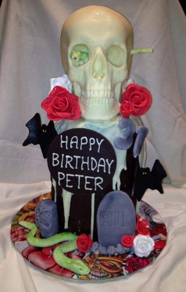 Pleasing Skull Birthday Cake Cake By Lauren Cakesdecor Funny Birthday Cards Online Eattedamsfinfo