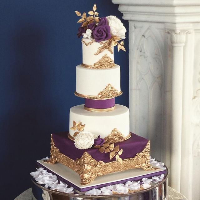 Purple and Gold Rococo Cake