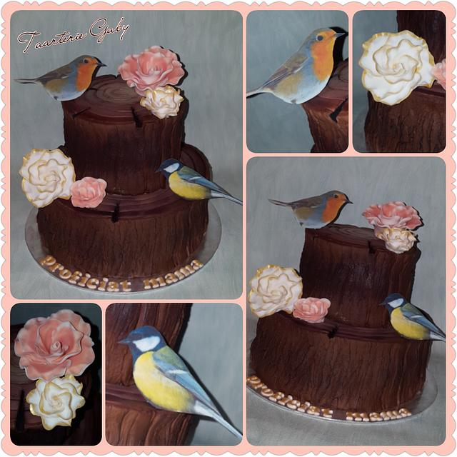 Tree cake with birds