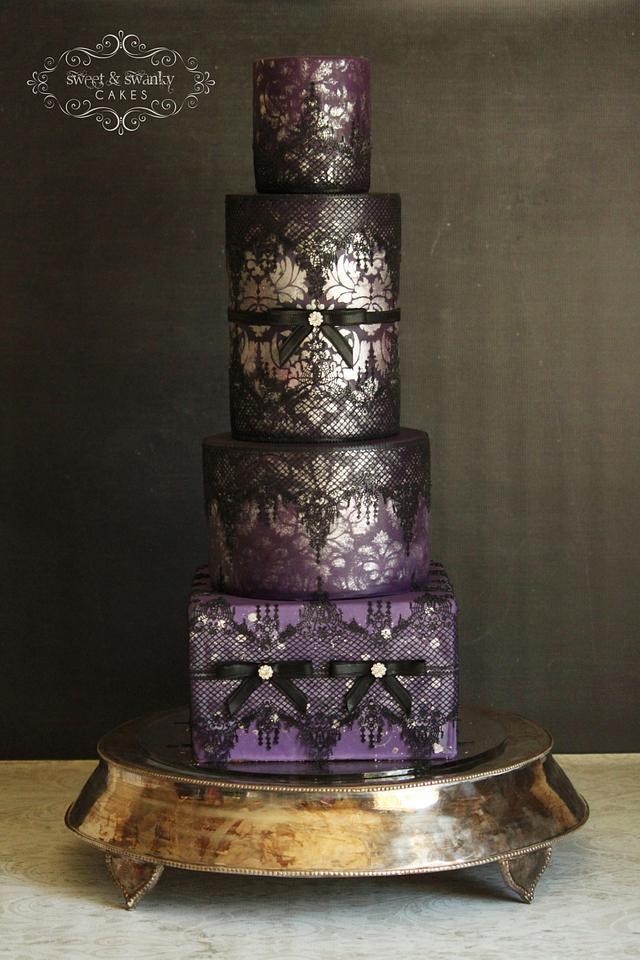 Sexy Damask and Lace Wedding Cake