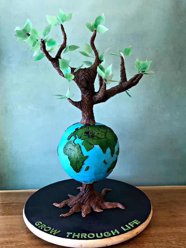 Grow Through Life - Globe and Tree 3D Cake