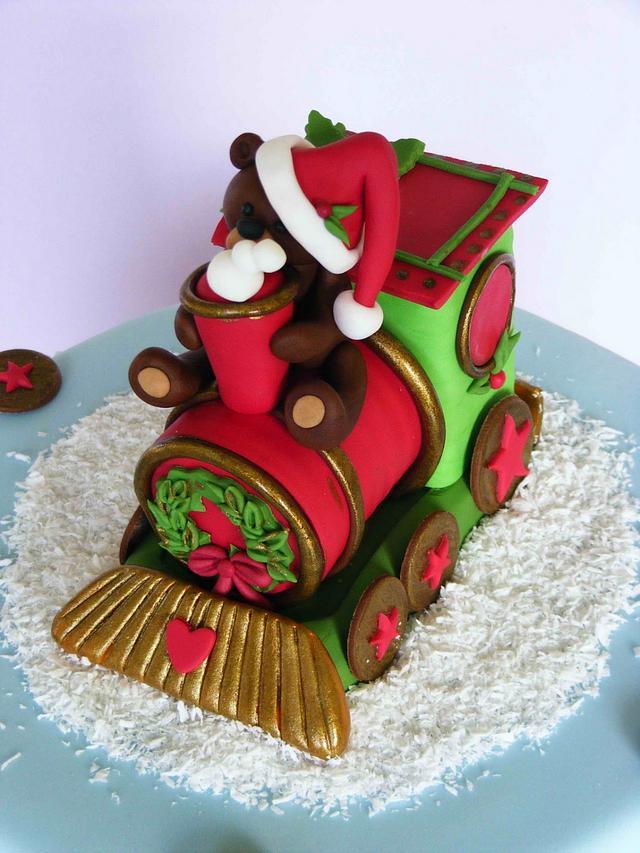 Christmas train and bears cake