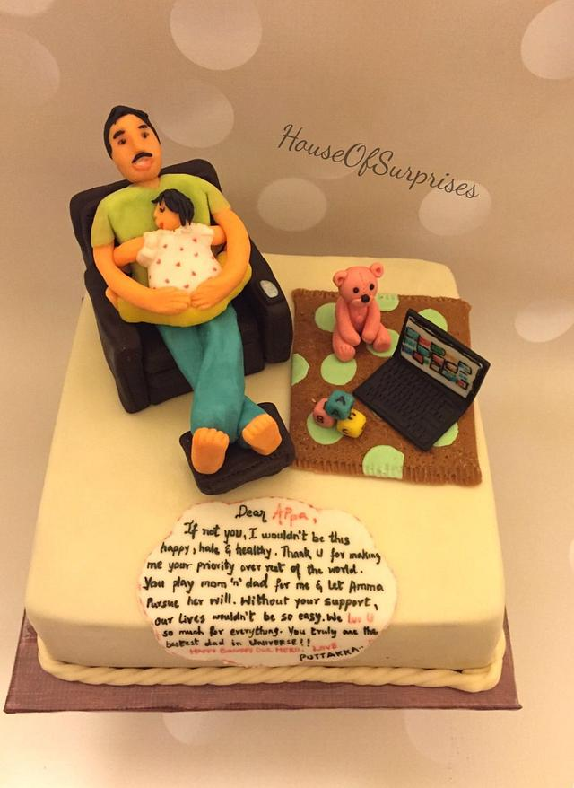 Cool Happy Birthday Daddy Dad With Toddler Cake By Shikha Cakesdecor Personalised Birthday Cards Veneteletsinfo