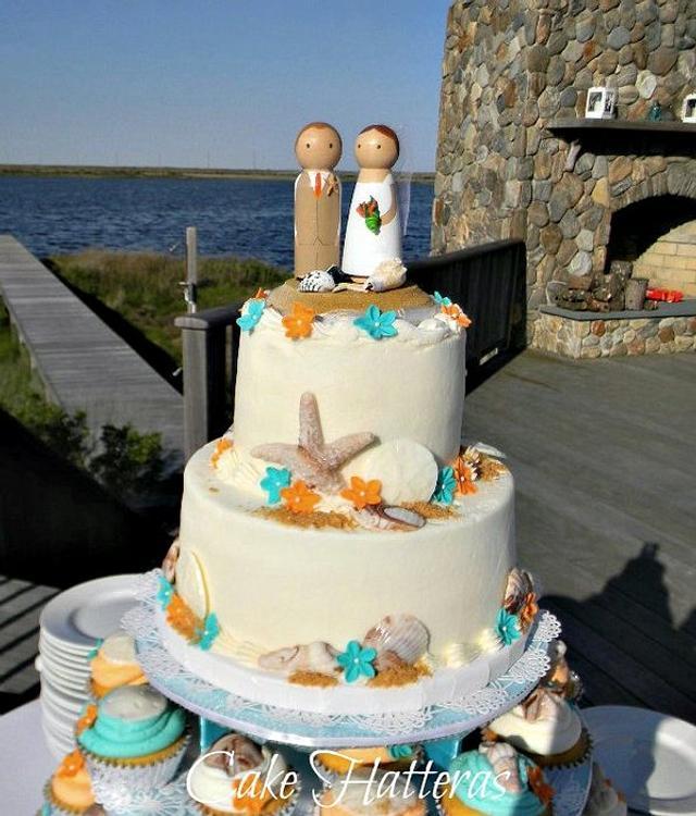 Teal and Orange Beach Wedding
