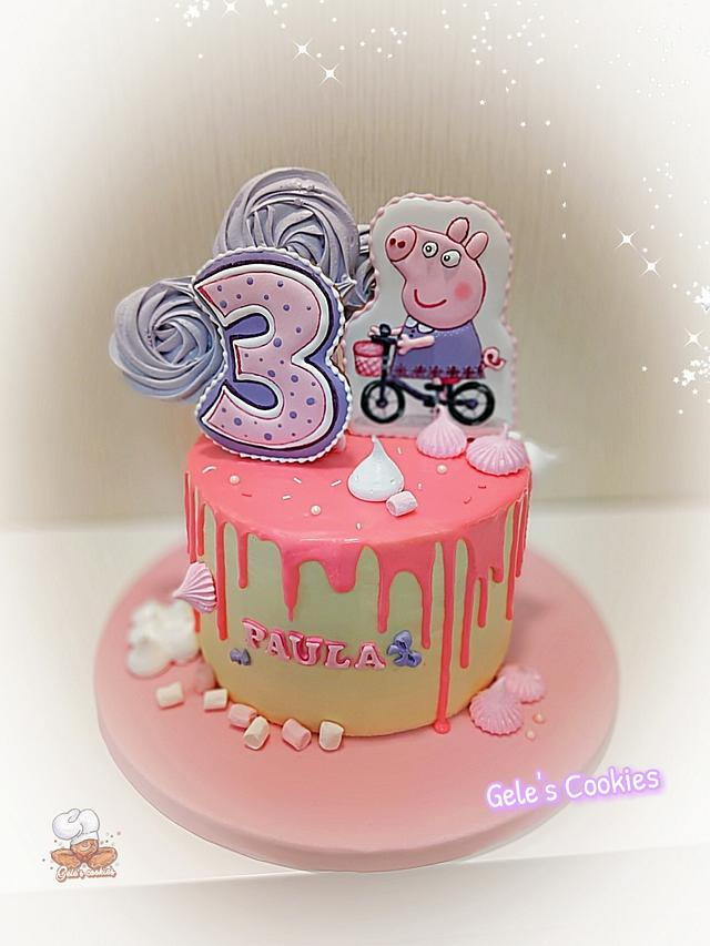 Peppa Pig Drip Cake With Cookies Cake By Gele S Cookies Cakesdecor