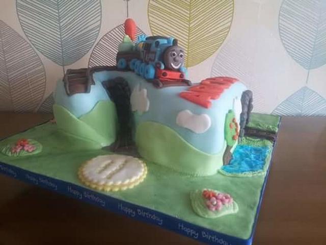 Thomas the Tank themed 2 cake