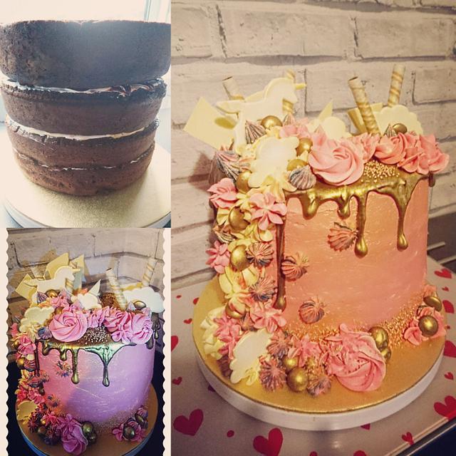 Rose gold unicorn drip cake