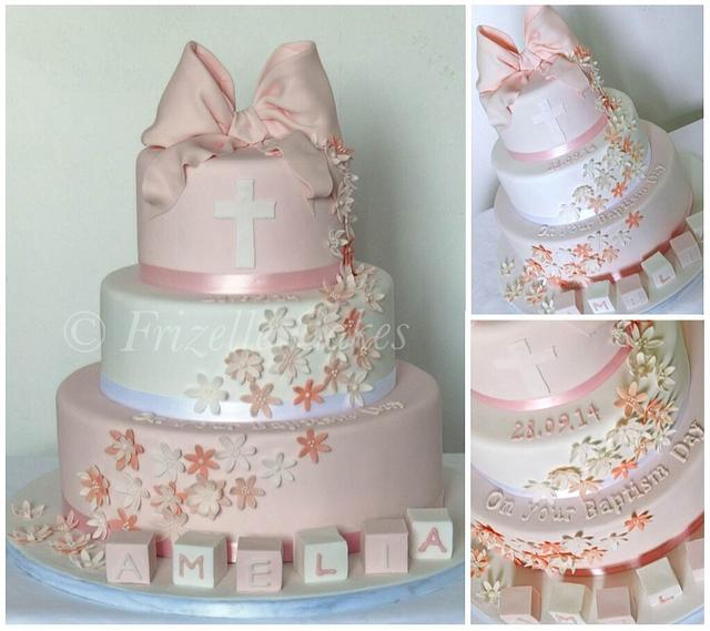 Christening cake with sugar bow