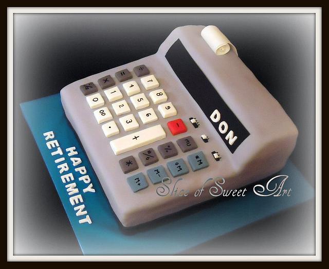 The Cake-U-Lator Retirement Cake