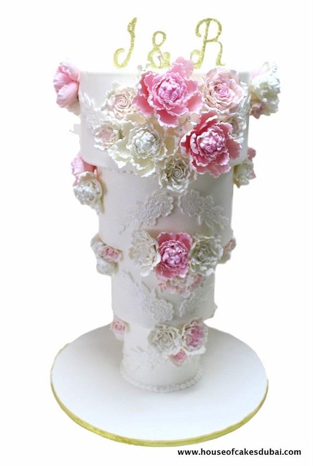 Up side down wedding cake