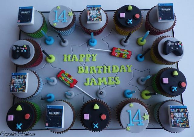 Playstation themed cupcake board