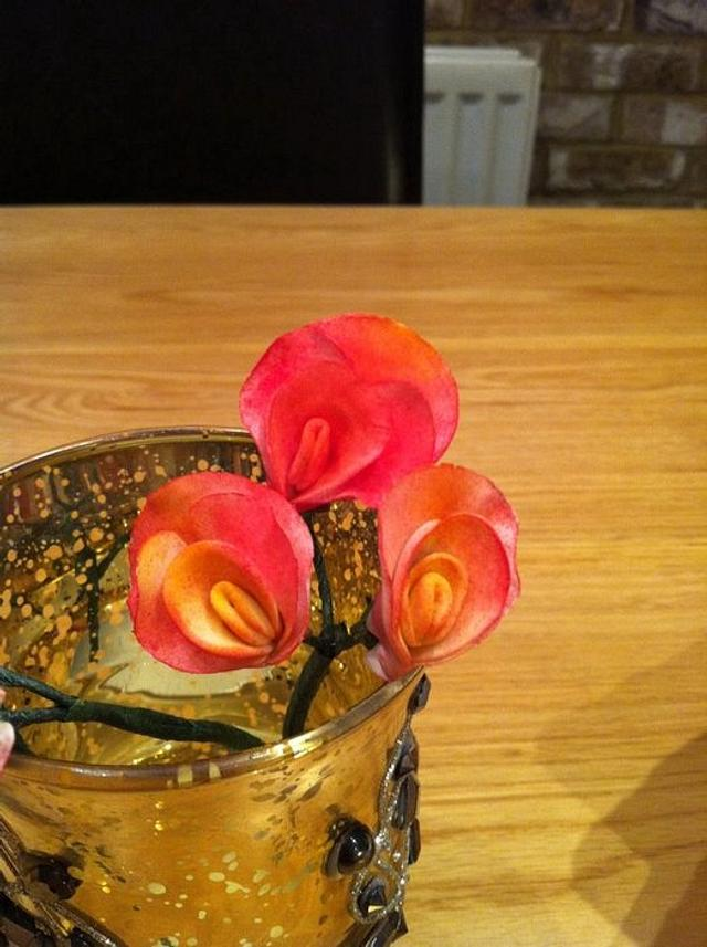 Sweetpeas made from flower  paste