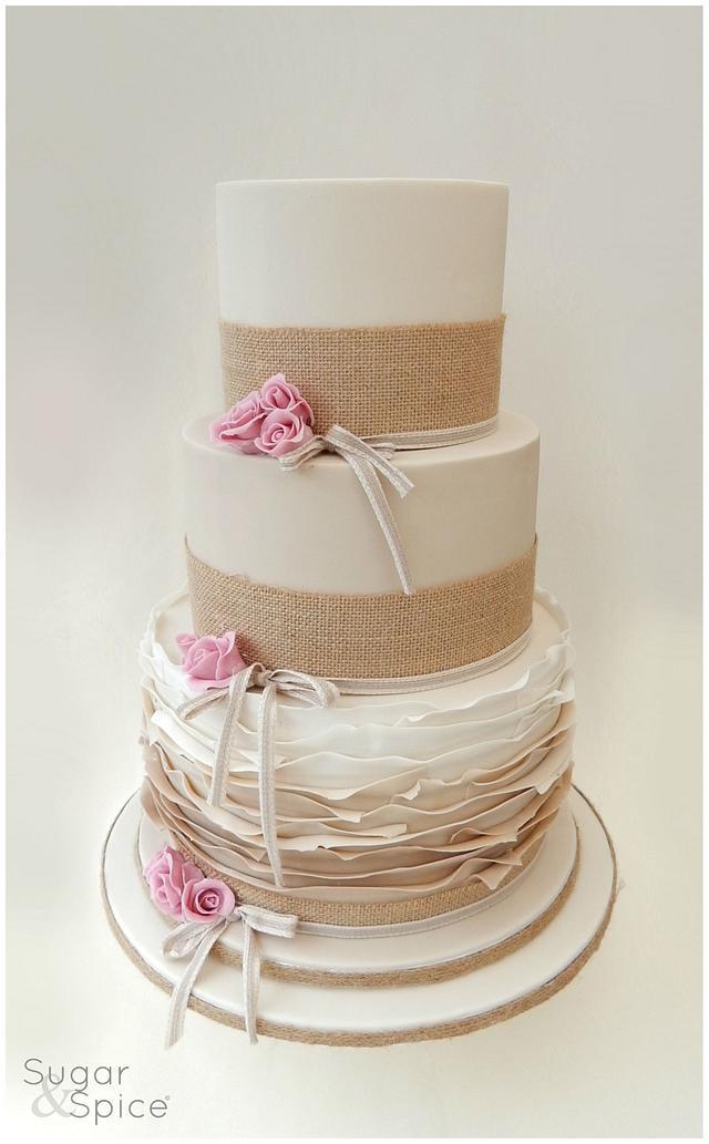 Rustic and Ruffled Wedding Cake