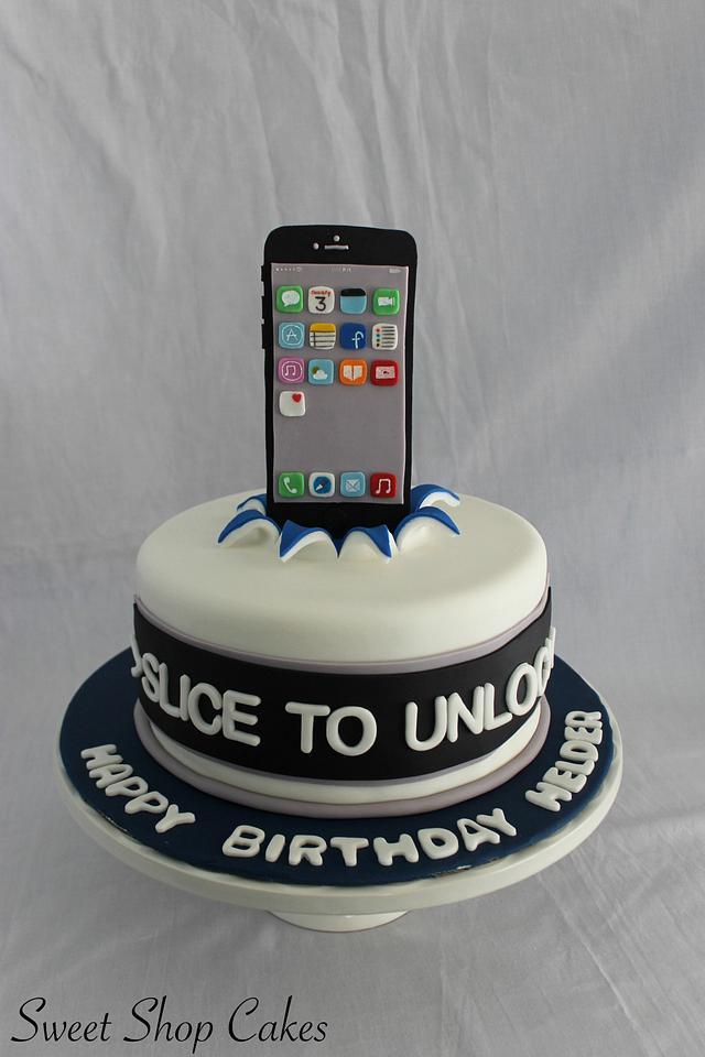 Phenomenal Iphone Themed Birthday Cake Cake By Sweet Shop Cakes Cakesdecor Funny Birthday Cards Online Aeocydamsfinfo