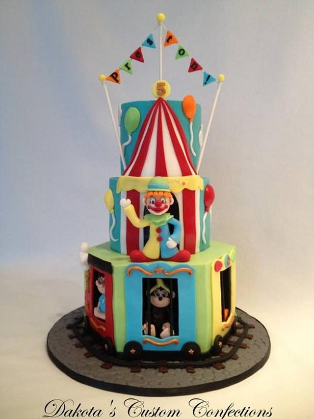 Surprising Circus Train Birthday Cake Cake By Dakotas Custom Cakesdecor Funny Birthday Cards Online Inifodamsfinfo